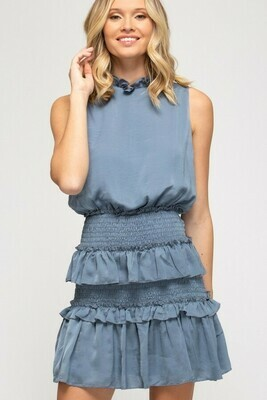 Sky Blue Smocked Dress With Ruffle