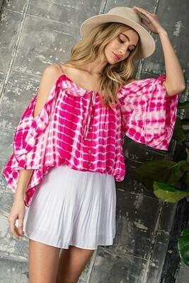Pink Off The Shoulder Tye Dye Top