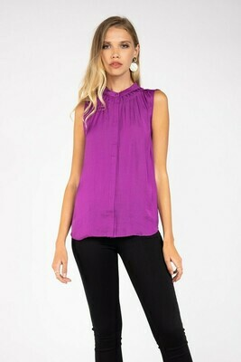 Mulberry Banded Collar Top