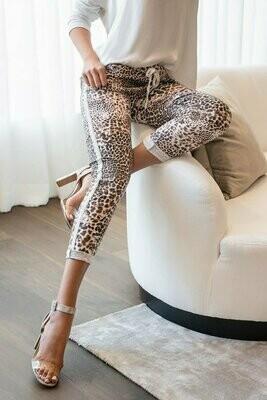 White Cheetah Trim Crinkle Pant