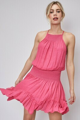 Pink Ruffle Trim Dress