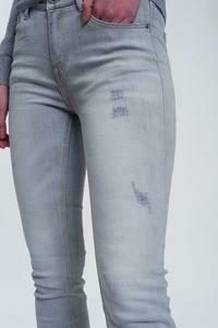 Faded Gray Denim Jeans