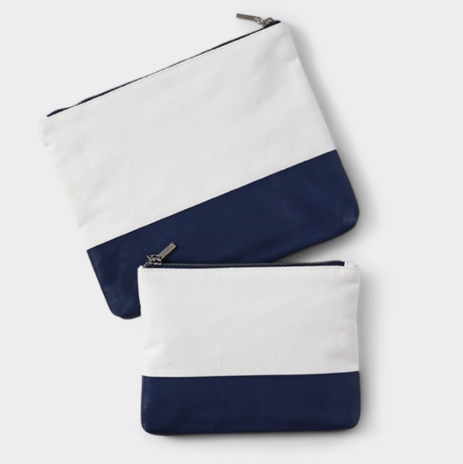 Large Canvas & Navy Pouch