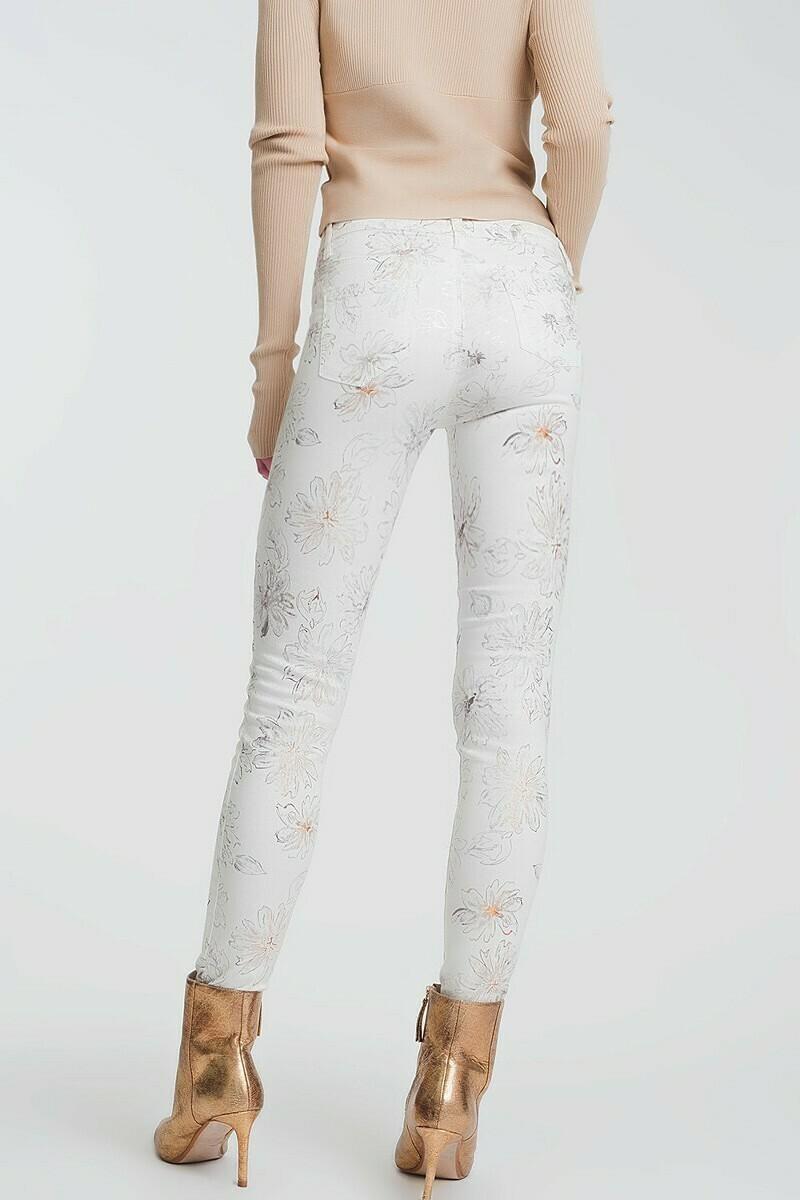 Foil Flower Denim Jean