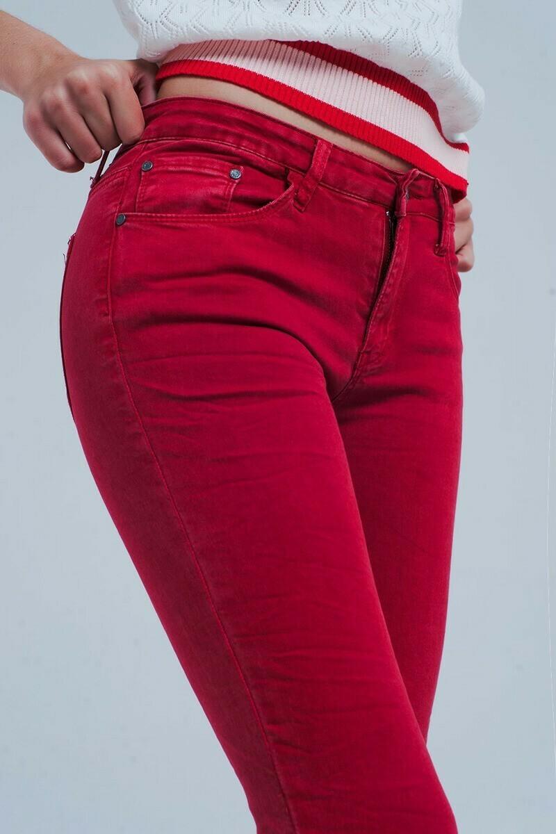 Red Slim Fit Denim Pant