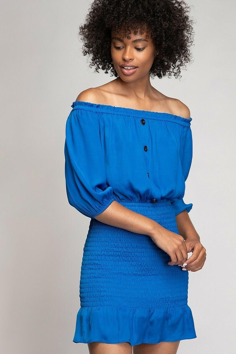 Cold Shoulder Smocked Dress