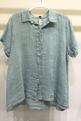 Short Sleeve Button Down Linen Top