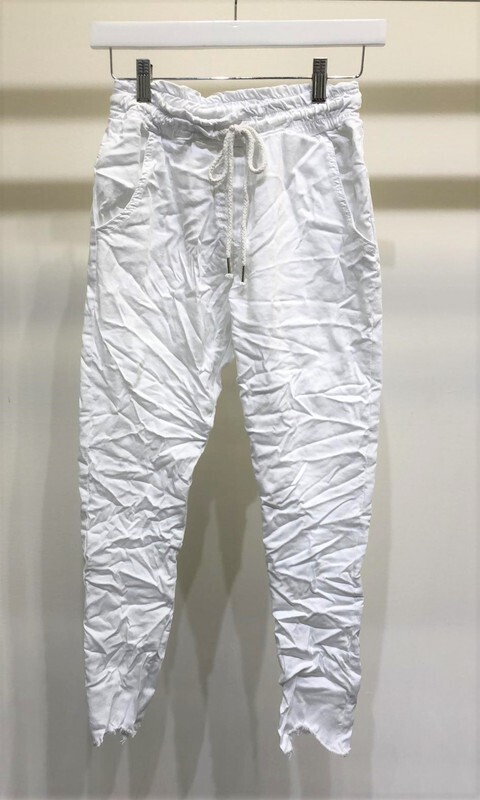 Solid White Crinkle Jogger