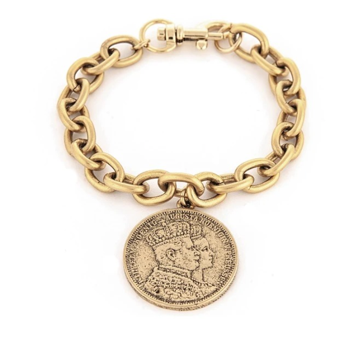 Antiqued Roman Coin Inspired Braclet