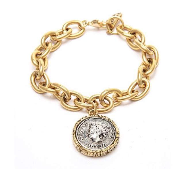 Two Tone Inspired Roman Coin Bracelet