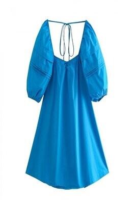 Maldive Blue Puff Sleeve Tunic Dress