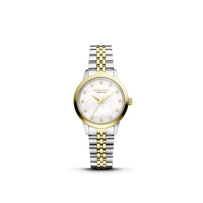 MONTREUX: Gold Bezel Silver Case, MOP Dial, Bi-color Silver/Gold bracelet, 30mm