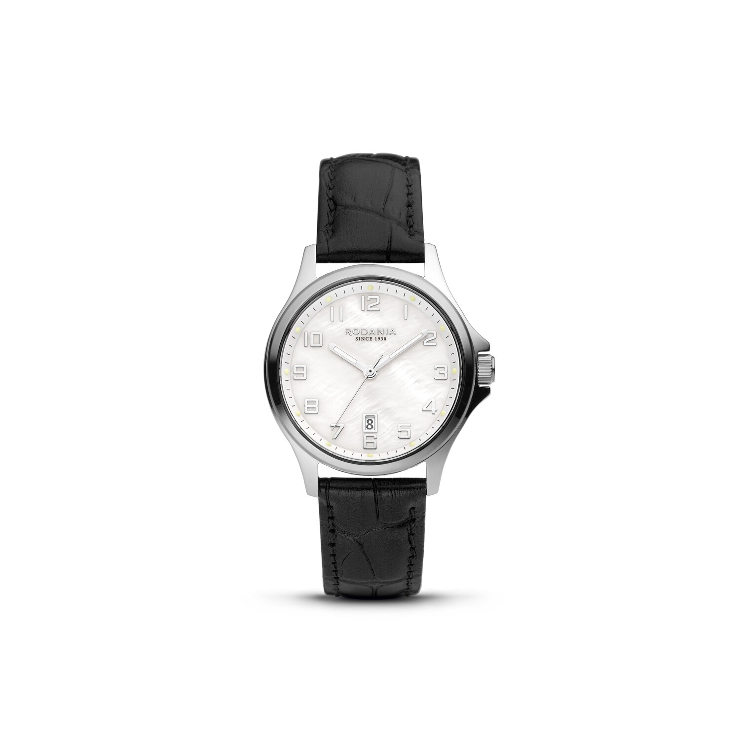 BELLINZONA: Silver Bezel Silver Case, MOP Dial, Black Leather, 32mm