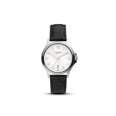 BELLINZONA: Silver Bezel Silver Case, MOP Dial, Black Leather, 32mm
