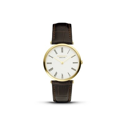 LUGANO: Gold Bezel Silver Case, White Dial, Brown Croco Leather, 33mm