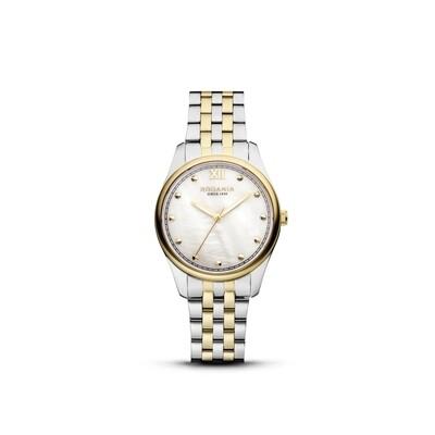 GSTAAD: Gold Bezel Silver Case, MOP Dial, Bi-color Silver/Gold bracelet, 32mm