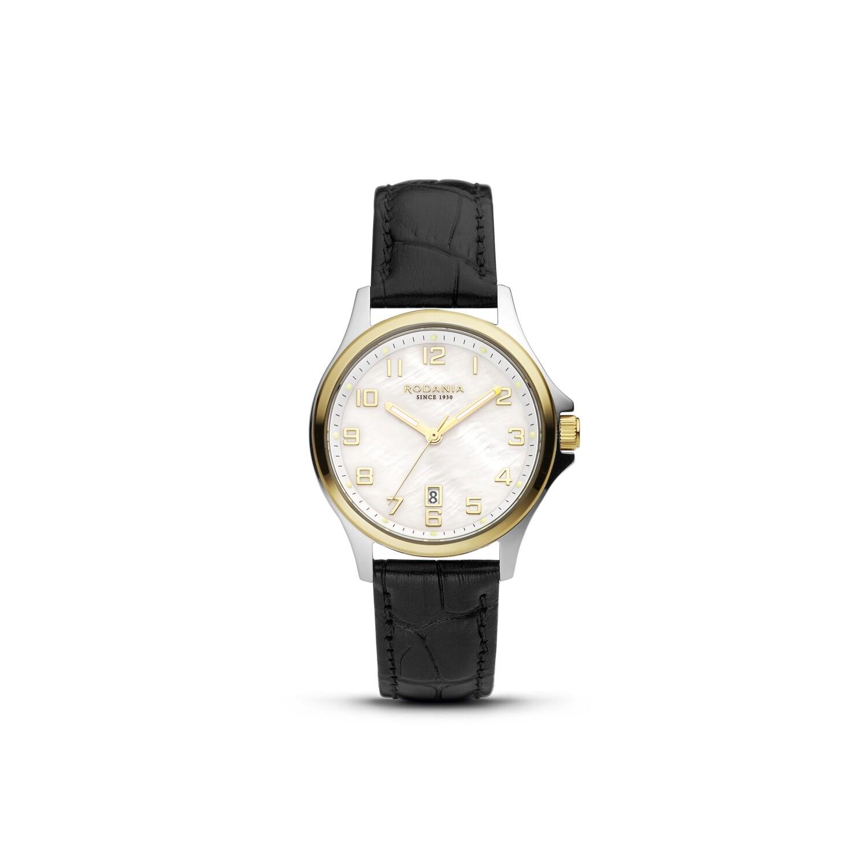 BELLINZONA: Gold Bezel Silver Case, MOP Dial, Black Leather, 32mm