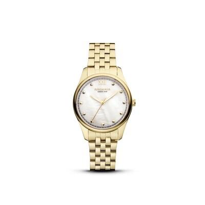 GSTAAD: Gold Bezel Gold Case, MOP Dial, Gold Bracelet, 32mm