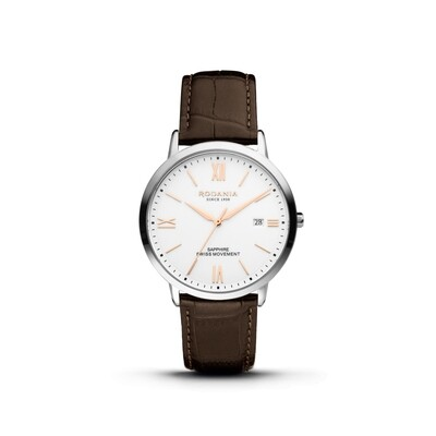 SION: Silver Bezel Silver Case, White Dial, Brown Leather, 40mm