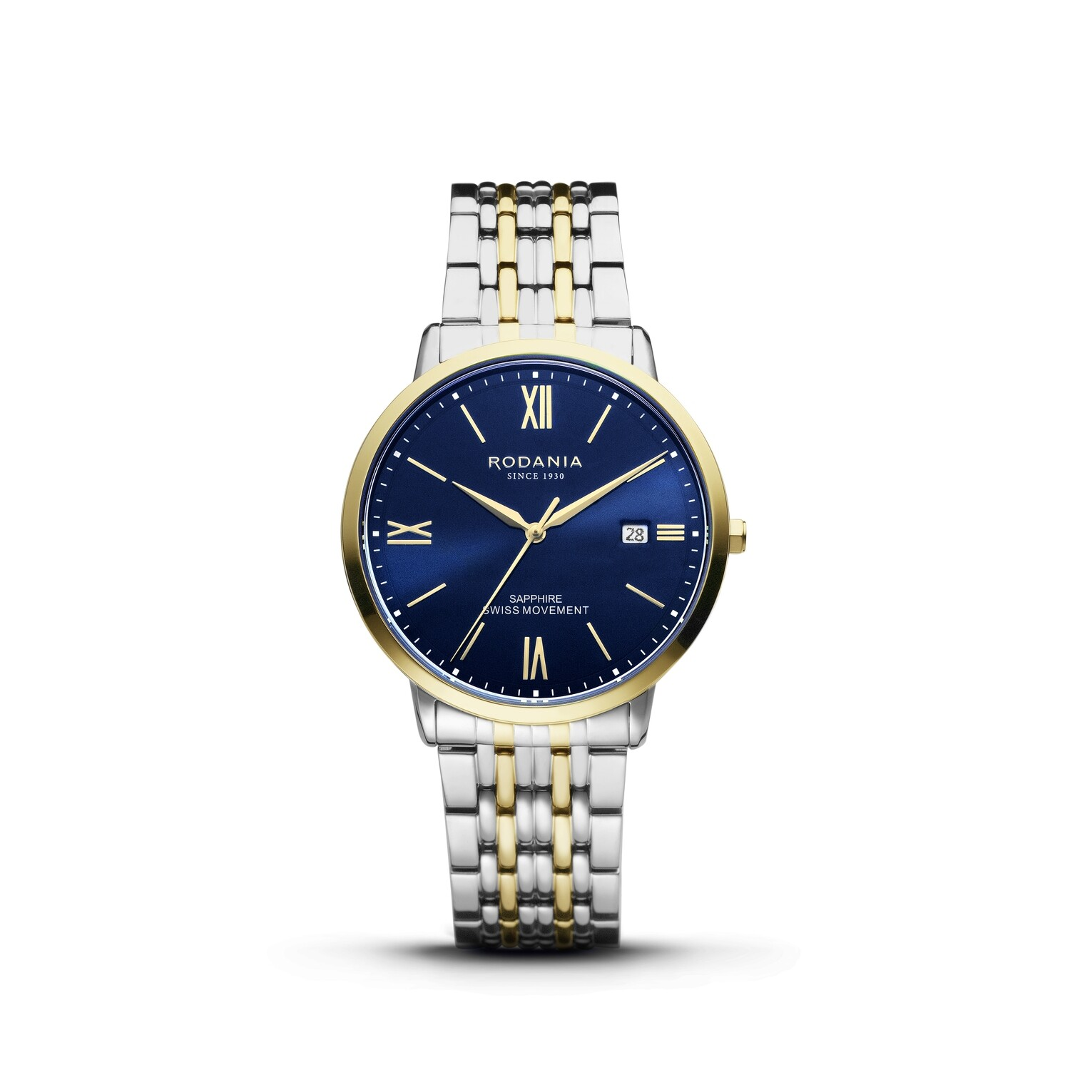 SION: Gold Bezel Silver Case, Blue Dial, Bi-color Silver/Gold bracelet, 40mm
