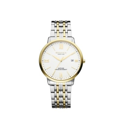 SION: Gold Bezel Silver Case, White Dial, Bi-color Silver/Gold bracelet, 40mm