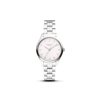 GENEVA: Silver Bezel Silver Case, Rose Gold Dial, Silver Bracelet, 30mm