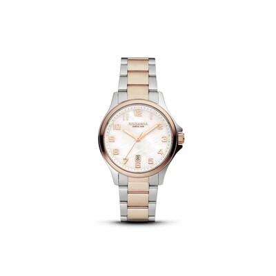 BELLINZONA: Rose Gold Bezel Silver Case, MOP Dial, Bi-color Silver/Rose Gold bracelet, 32mm