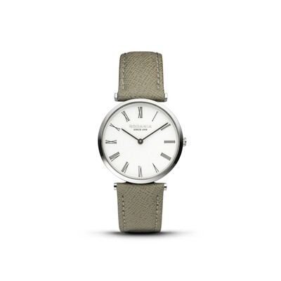 LUGANO: Silver Bezel Silver Case, White Dial, Grey Croco Leather, 33mm