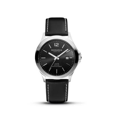 VERBIER: Silver Bezel Silver Case, Black Dial, Black Leather, 42mm