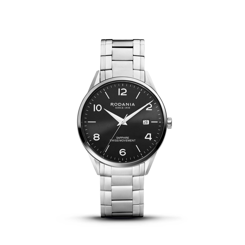 LOCARNO: Silver Bezel Silver Case, Black Dial, Silver Bracelet, 40mm