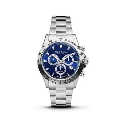 DAVOS: Silver Bezel silver Case, Blue Dial, Silver Bracelet, 42mm