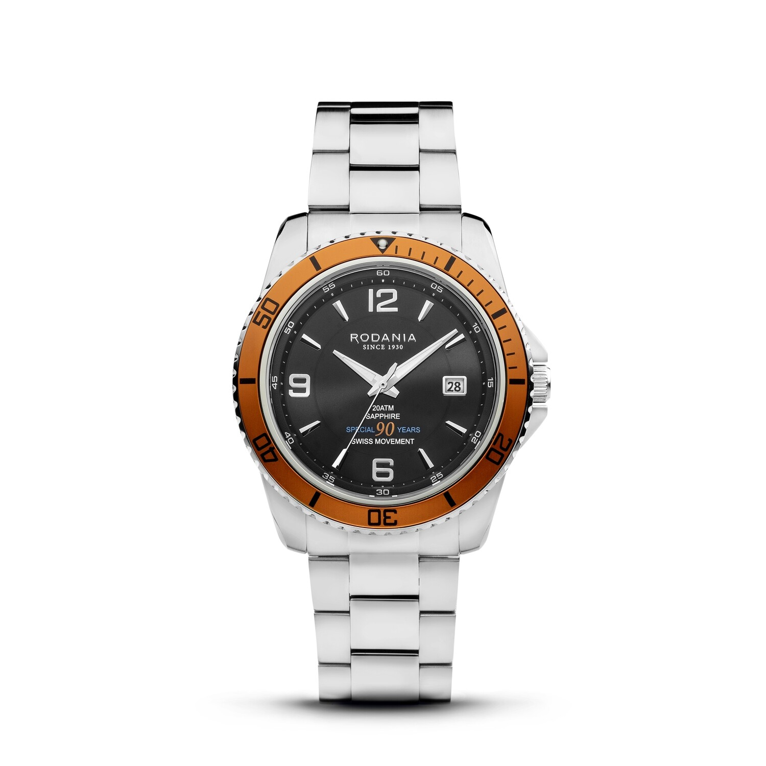LEMAN: ANNIVERSARY EDITION Orange Bezel Silver Case, Black Dial, Silver Bracelet, 43mm