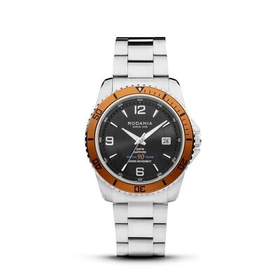LEMAN: ANNIVERSARY EDITION Orange Bezel Silver Case, Black Dial, Silver Bracelet, 43mm