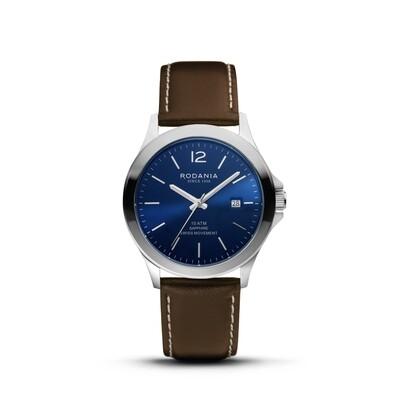 VERBIER: Silver Bezel Silver Case, Blue Dial, Brown Leather, 42mm