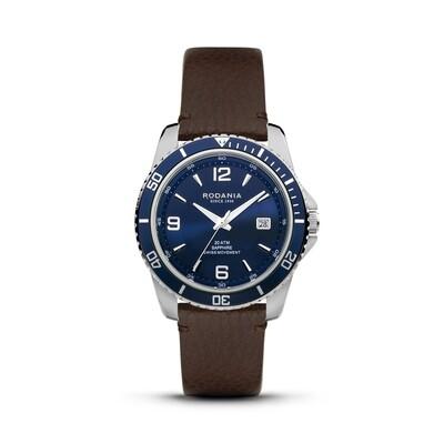 LEMAN: Blue Bezel Silver Case, Blue Dial, Brown Leather, 43mm