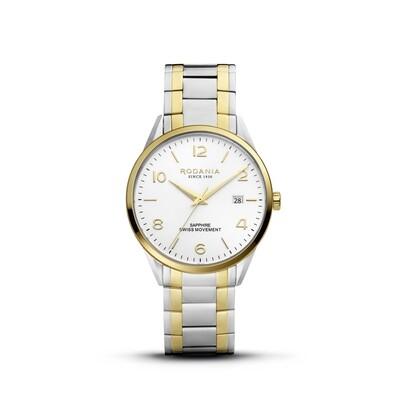LOCARNO: Gold Bezel Silver Case, Silver Dial, Bi-color Silver/Gold bracelet, 40mm