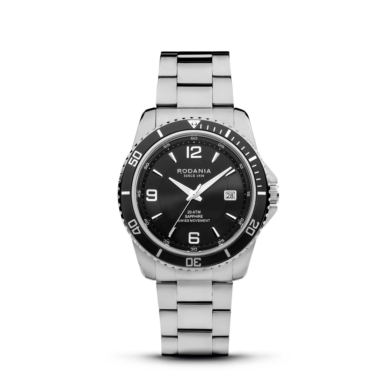 LEMAN: Black Bezel Silver Case, Black Dial, Silver Bracelet, 43mm