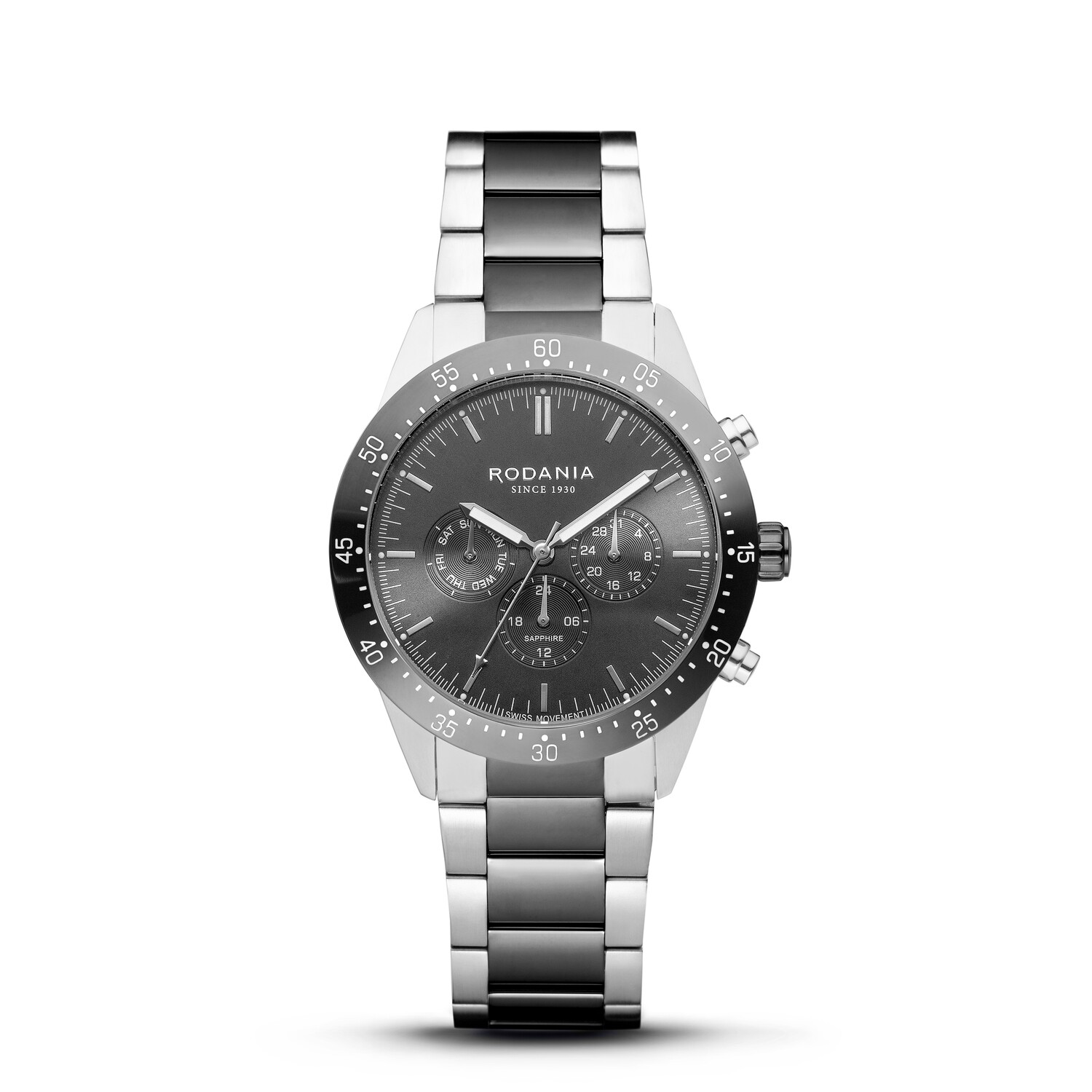 ALPINE: Gun Metal Bezel Silver Case, Grey Dial, Bi-color Silver/Gun Metal bracelet, 43mm