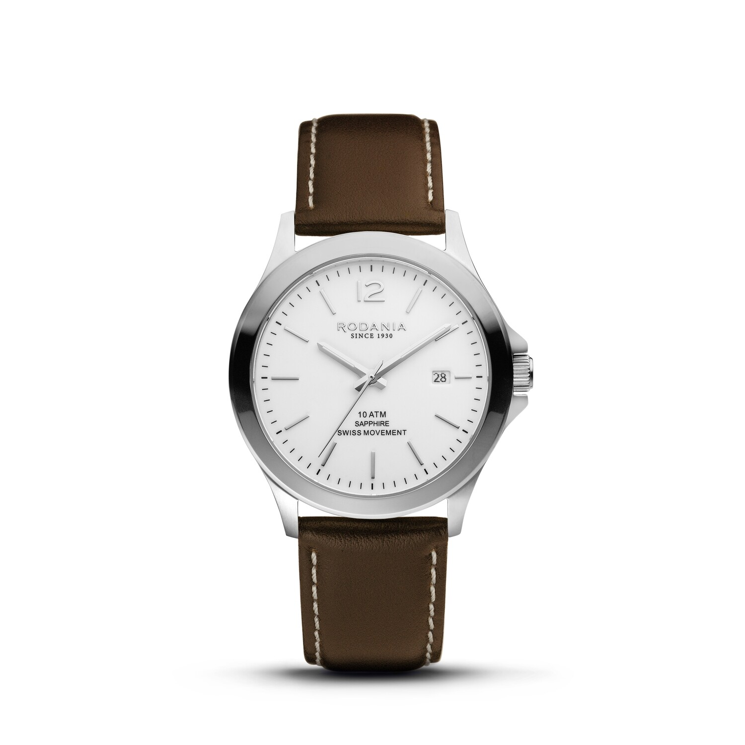 VERBIER: Silver Bezel Silver Case, White Dial, Brown Leather, 42mm