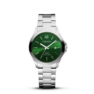 VERBIER: Silver Bezel Silver Case, Green Dial, Silver Bracelet, 42mm