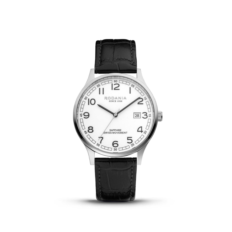 NYON: Silver Bezel Silver Case, White Dial, Black Leather, 40mm