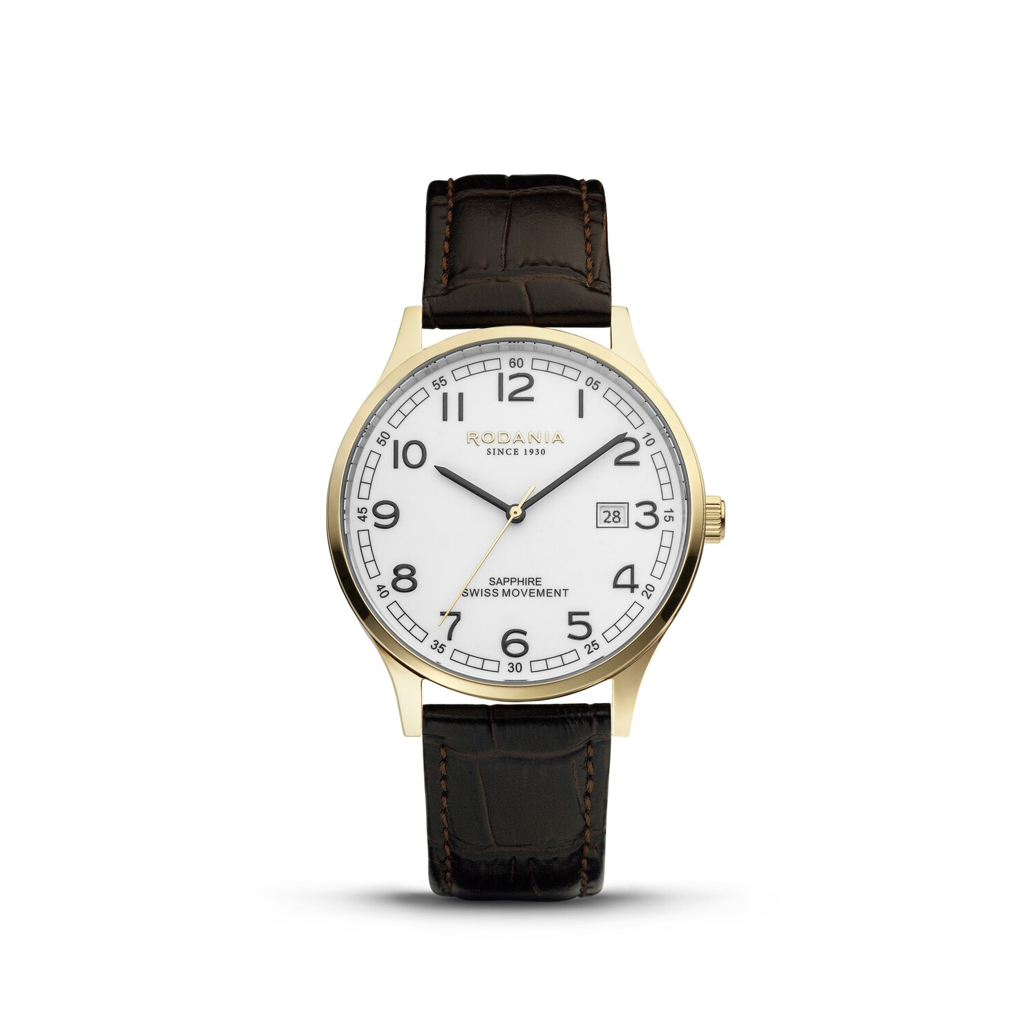 NYON: Gold Bezel Gold Case, White Dial, Brown Leather, 40mm