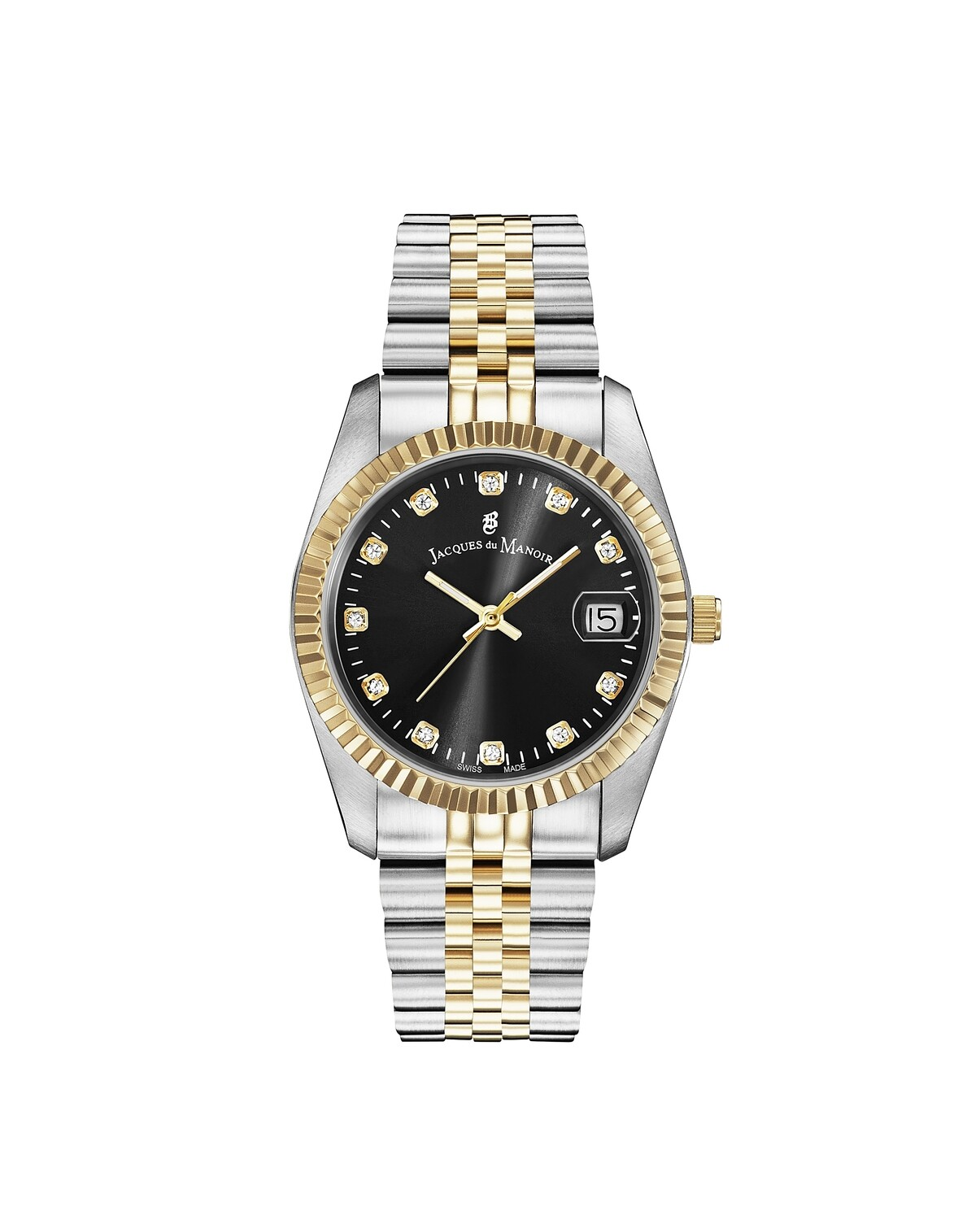 Inspiration SS IPGold Two Tone case, BLACK Dial, SS IPGold Two Tone Bracelet, 36.0 mm