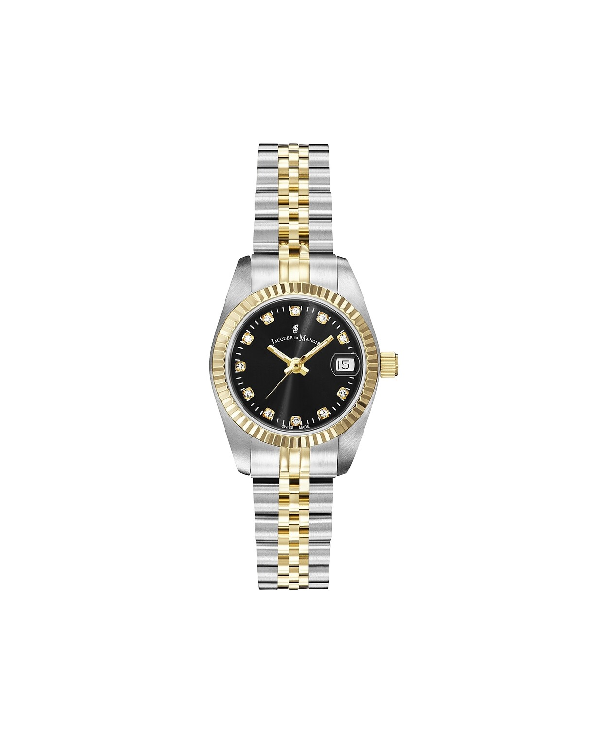 Inspiration SS IPGold Two Tone case, BLACK Dial, SS IPGold Two Tone Bracelet, 26.0 mm