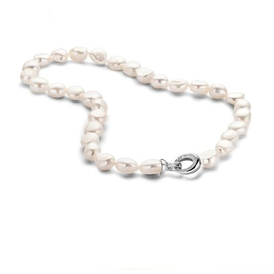 CH6744W White Fresh water pearls with Rhodium plated silver flower lock