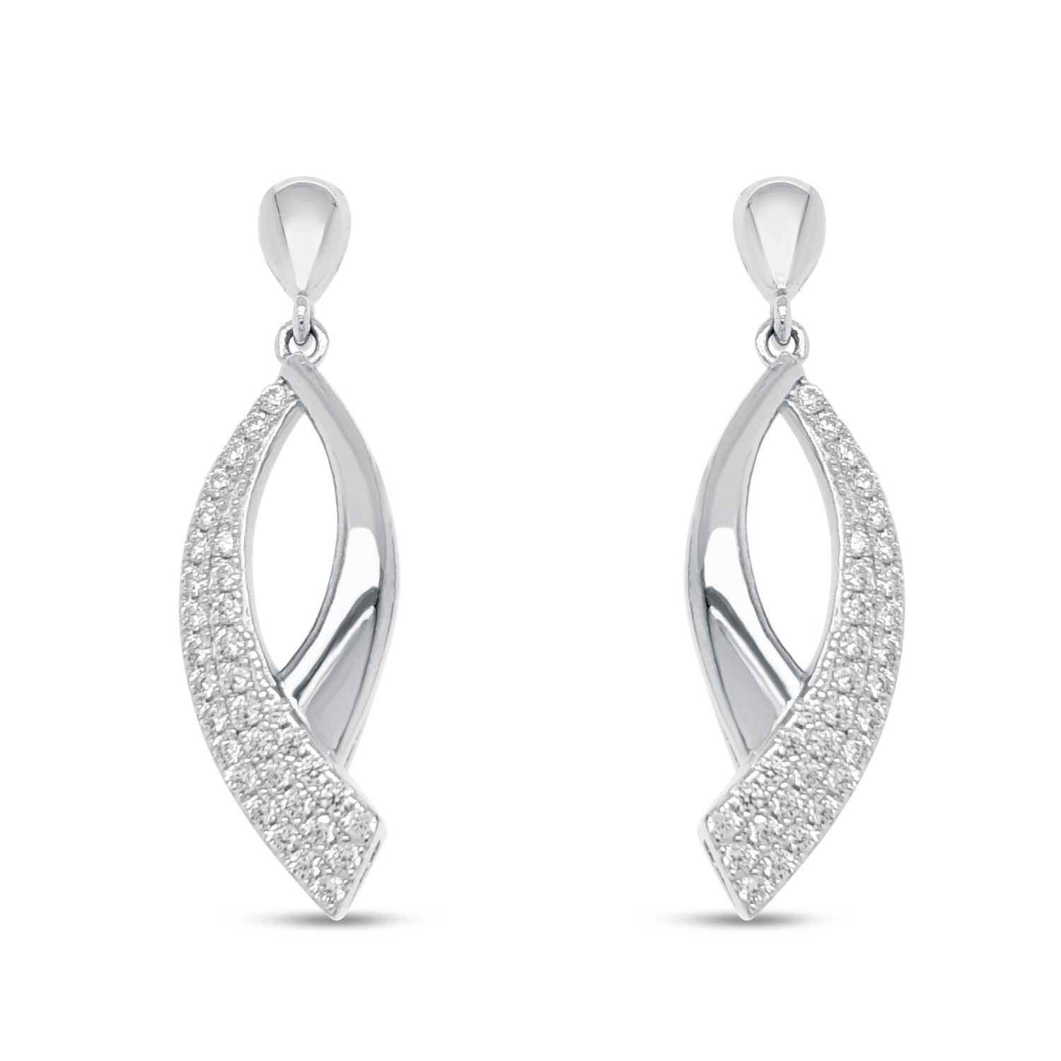 EA2130W Rhodium plated set with white cz