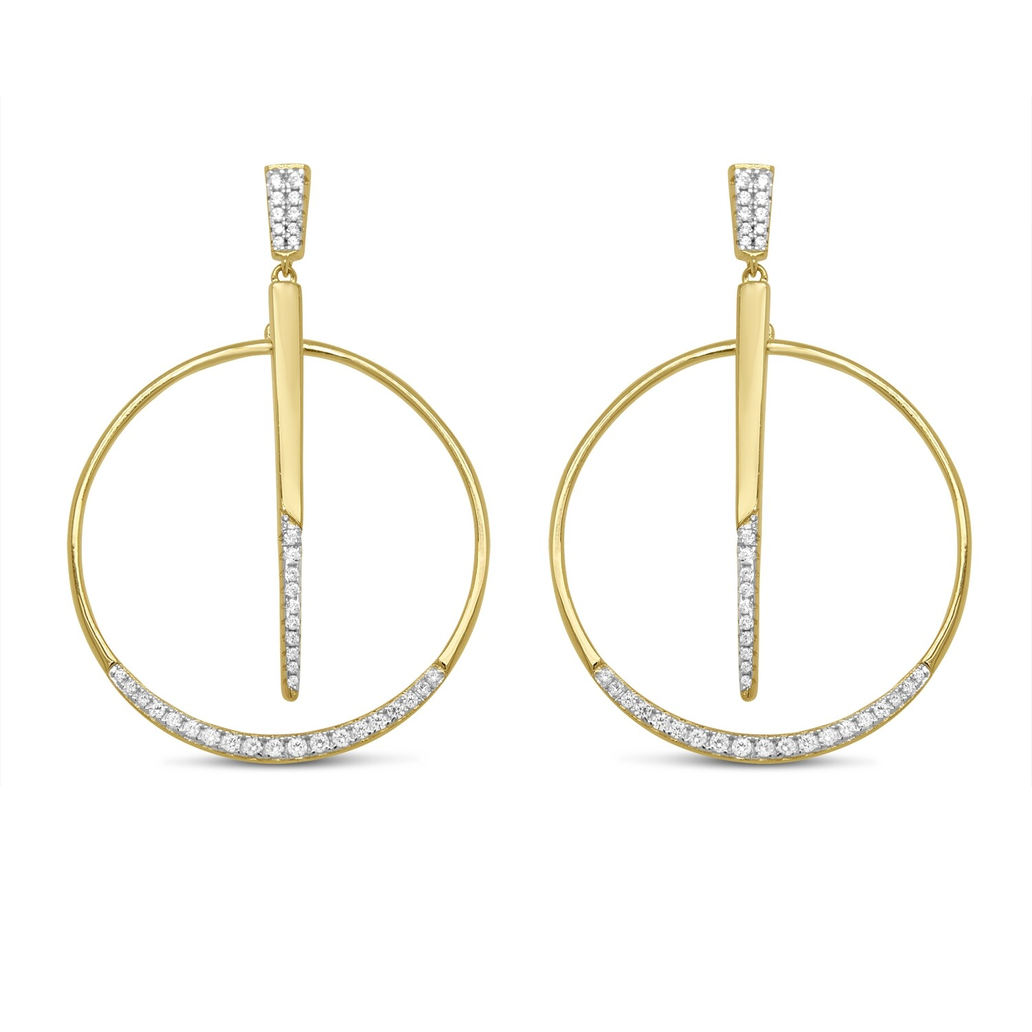 EA2162G Gold plated earrings set with white cz