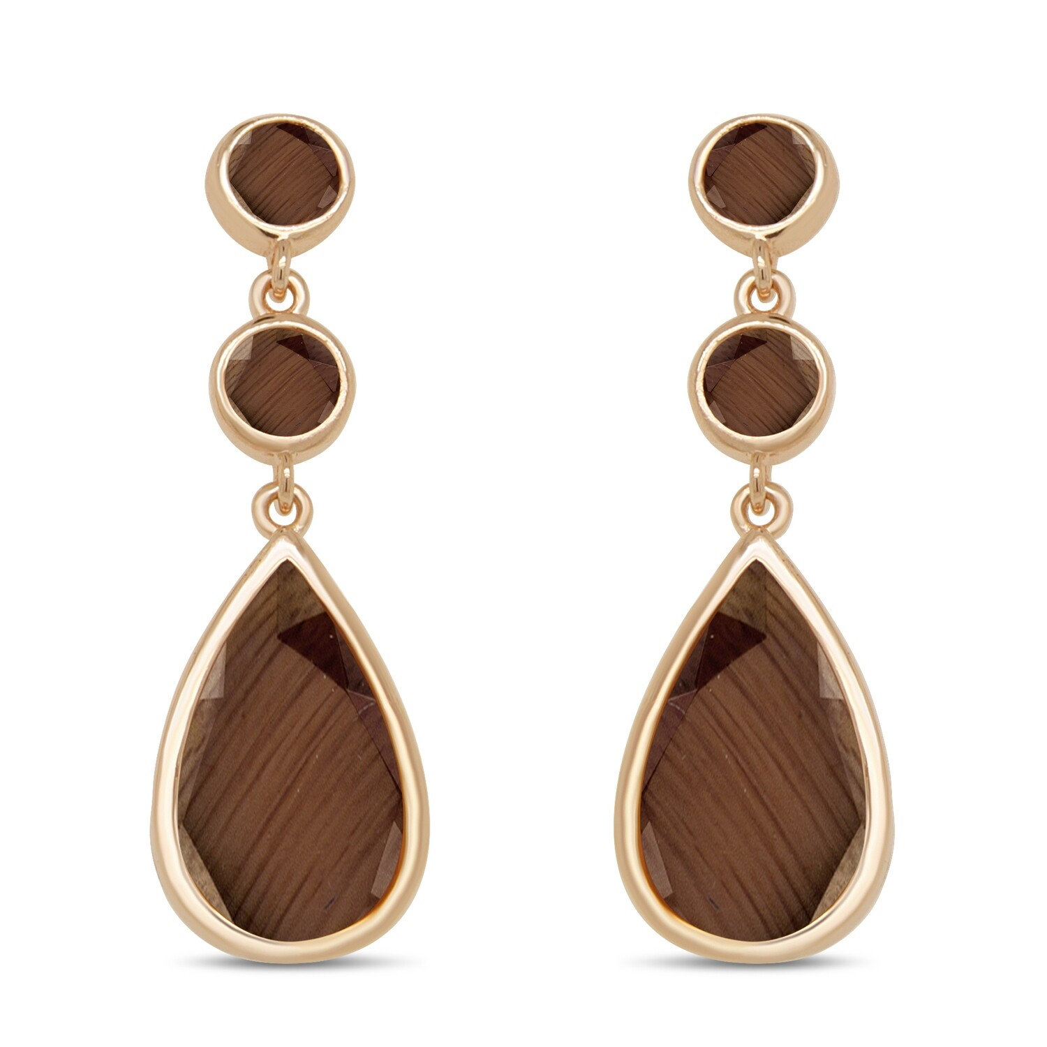 EA2160BR Rose plated set with brown cats eye stone