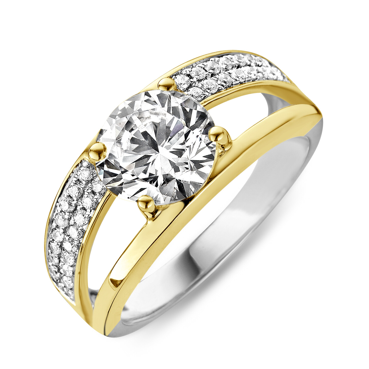 R6102G-54 Gold plated set with white cz