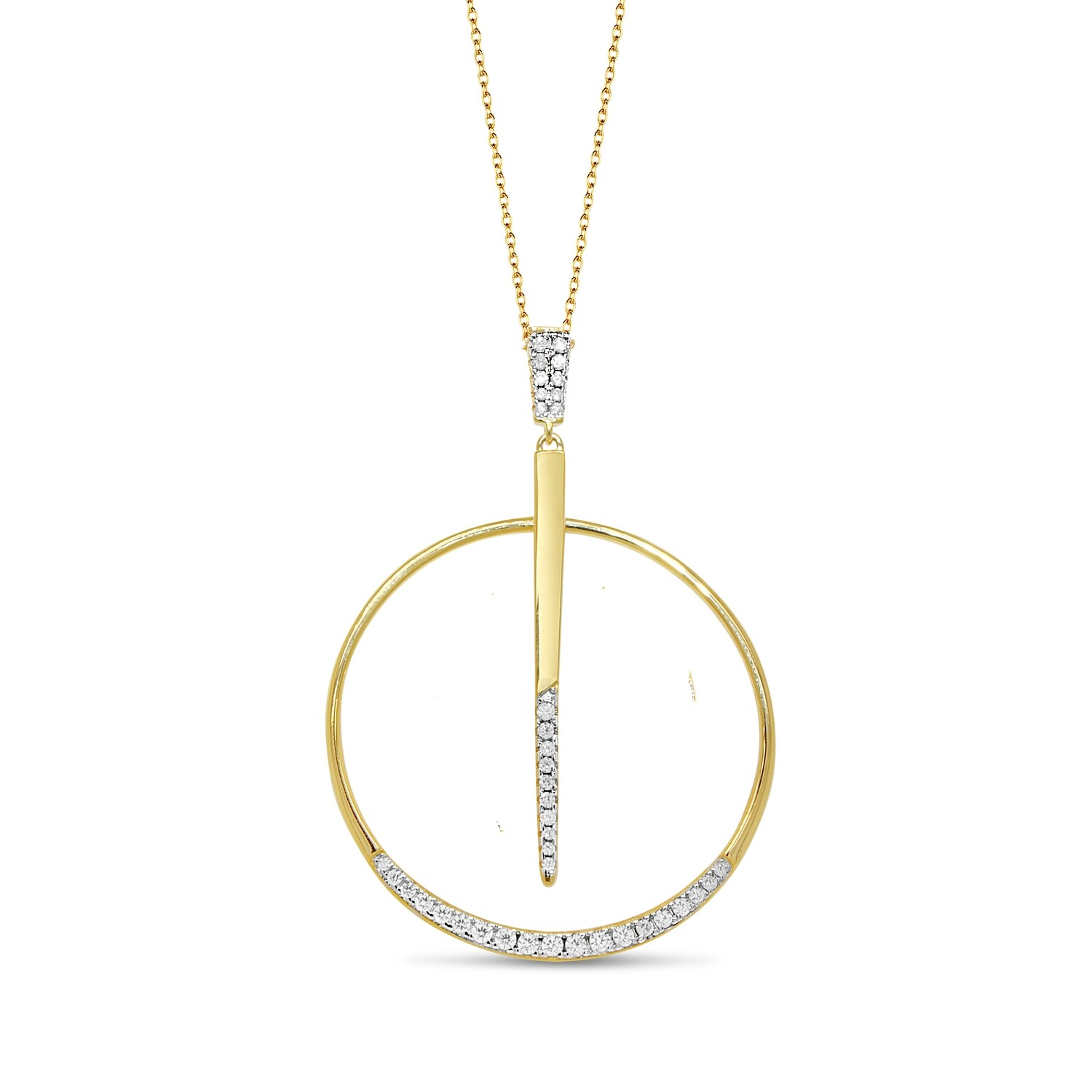 P2162G Gold plated pendant set with white cz